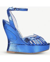 Terry De Havilland - Margaux Metallic Snake-effect Leather Wedge Sandals - Lyst