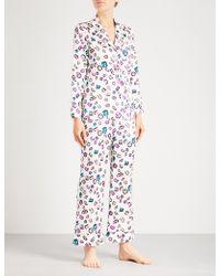 Lyst - Olivia Von Halle Striped Silk Lila Pyjama Set 869271425