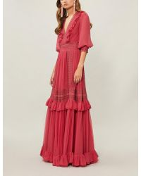 Costarellos - Ruffled Silk Gown - Lyst