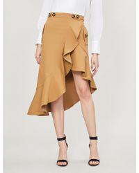 Self-Portrait - Asymmetric Stretch-cotton Skirt - Lyst