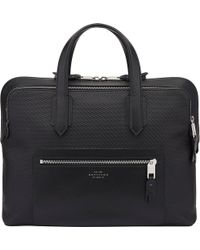 Smythson - Greenwich Slim Cotton And Leather Carry-on Bag - Lyst