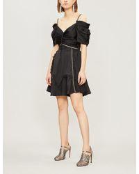 e396c2c023319 Self-Portrait - Ladies Black Off-the-shoulder Satin Mini Dress - Lyst