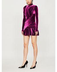 Balenciaga - Ruched Velvet Mini Dress - Lyst