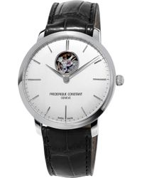 Frederique Constant - Fc-312s4s6 Slimline Stainless Steel And Leather Watch - Lyst