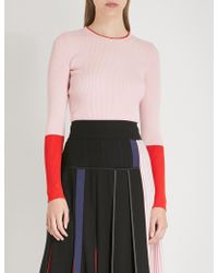Sportmax - Contrast-panel Ribbed-knit Jumper - Lyst