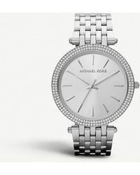 cb73b2c5ff29 Lyst - Michael Kors Darci Pave Stainless Steel Bracelet Watch in ...