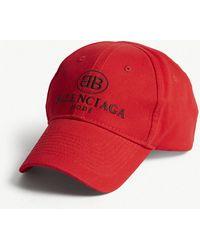 b1ba65d7060 Balenciaga - Mens Red And Black Mode Cotton Strapback Cap - Lyst