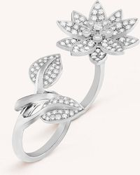 Van Cleef & Arpels - Lotus Between The Finger White Gold And Diamond Ring - Lyst