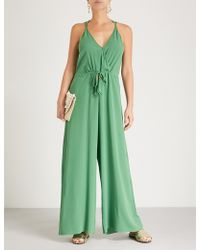 Lazul - Ladies Palatina Green Modern Rania Silk-crepe Jumpsuit - Lyst