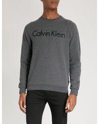 Calvin Klein   Kasma Flocked-logo Cotton-jersey Sweatshirt   Lyst