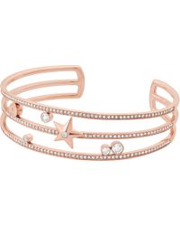 Michael Kors - Brilliance Star Stainless Steel Rose-gold Cuff Bracelet - Lyst