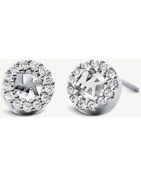 Michael Kors - Round Monogram Pave-embellished Stud Earrings - Lyst