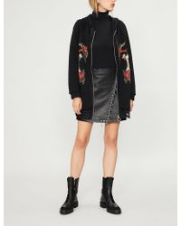 Pinko - Spoletta Printed Cotton-jersey And Lace Hoody - Lyst