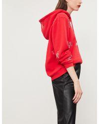 The Kooples - Stud-embellished Cropped Cotton-jersey Jumper - Lyst