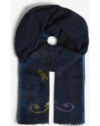 Etro - Crest Intarsia Printed Wool-cashmere Scarf - Lyst