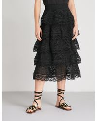 Zimmermann - Tali Tiered Swirl Cotton Skirt - Lyst