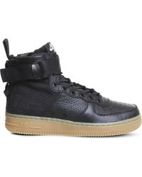 Nike - Sf Af-1 17 Leather And Mesh Mid-top Trainers - Lyst