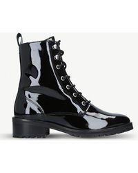 Kurt Geiger - Saffie Patent Military Boots - Lyst