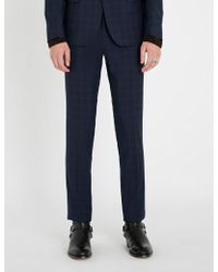 The Kooples - Checked Slim-fit Tapered Wool Trousers - Lyst