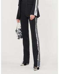 David Koma - Sequin-embellished High-rise Straight Crepe Trousers - Lyst