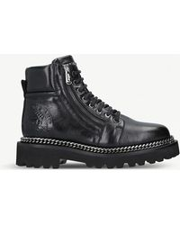 Balmain - Chain Leather Army Boots - Lyst