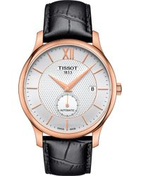 Tissot - T0634283603800 Tradition Rose-gold Plated Stainless Steel And Leather Watch - Lyst