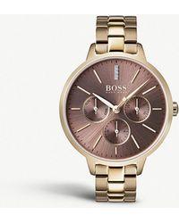 BOSS - 1502422 Symphony Gold-plated Quartz Watch - Lyst
