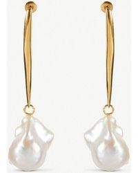 Alexander McQueen - Stick Brass And Pearl Earrings - Lyst