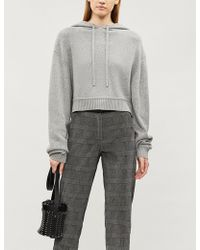 The Kooples - Cropped Knitted-jersey Hoody - Lyst