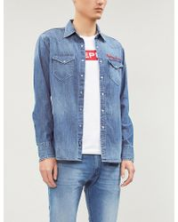 f3012178f3 Replay - Logo-embroidered Slim-fit Denim Shirt - Lyst