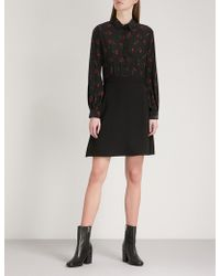 The Kooples | Cherry-print Silk And Crepe Dress | Lyst