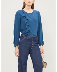 Claudie Pierlot - Ruffled Silk-crepe Blouse - Lyst