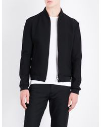 Armani - Stand-collar Mesh Bomber Jacket - Lyst