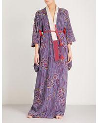Kisshōten - Blowing Petals Silk Kimono Robe - Lyst