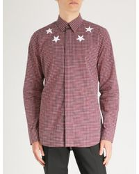 Givenchy - Checked Star-print Regular-fit Cotton Shirt - Lyst