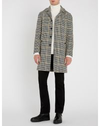 Sandro - Houndstooth-patterned Wool-bend Coat - Lyst