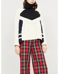 Sacai - Colour-blocked Wool-blend Turtleneck Jumper - Lyst