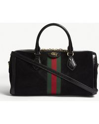 Gucci - Black Stripe Ophidia Suede And Leather Boston Bag - Lyst