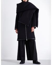 Thamanyah - Padded-scarf Wool Coat - Lyst