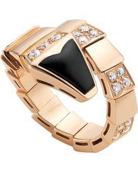 BVLGARI - Serpenti 18kt Pink-gold And Black-onyx Ring - Lyst