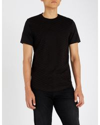 Emporio Armani - Logo-embroidered Cotton-jersey T-shirt - Lyst