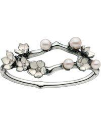 Shaun Leane - Silver And Diamond Cherry Blossom Cuff - Lyst