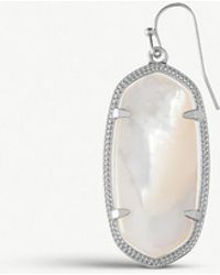 Kendra Scott - Elle Rhodium-plated And Ivory Mother-of-pearl Earrings - Lyst