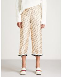 Gucci - Invite Stamp Cropped Silk Trousers - Lyst