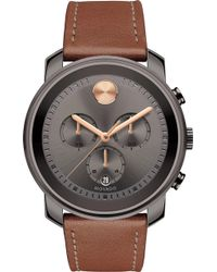 Movado - 3600421 Bold Gunmetal Grey Ion-plated Stainless Steel And Leather Watch - Lyst