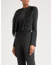 David Koma | Ostritch Feather-trim Cropped Crepe Jacket | Lyst