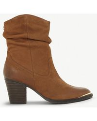 Steve Madden - Olya Ruched Leather Ankle Boots - Lyst