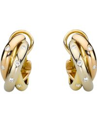 Cartier - Trinity 18ct Gold And Diamond Earrings - Lyst