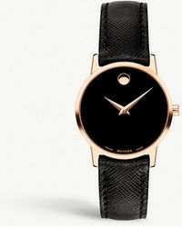 Movado - 0607206 New Museum Pvd Rose Gold-plated And Leather Strap Watch - Lyst