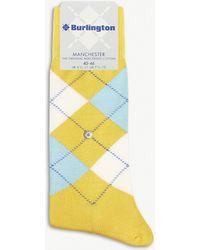 Burlington - Mens Grey Timeless Manchester Cotton-blend Socks - Lyst